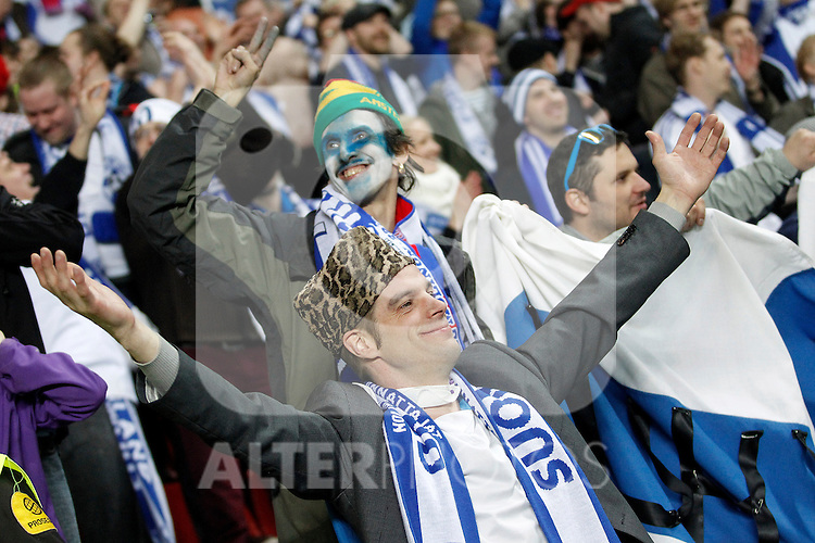 Finland's supporters celebrates the victory after international match of the qualifiers for the FIFA World Cup Brazil 2014.March 22,2013.(ALTERPHOTOS/Acero)