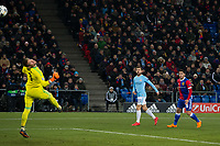 Manchester City's Bernardo Silva scores his side's second goal past Basel's Tomas Vaclik <br /> <br /> Photographer Craig Mercer/CameraSport<br /> <br /> UEFA Champions League Round of 16 First Leg - Basel v Manchester City - Tuesday 13th February 2018 - St Jakob-Park - Basel<br />  <br /> World Copyright &copy; 2018 CameraSport. All rights reserved. 43 Linden Ave. Countesthorpe. Leicester. England. LE8 5PG - Tel: +44 (0) 116 277 4147 - admin@camerasport.com - www.camerasport.com