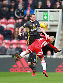 5th November 2017, Riverside Stadium, Middlesbrough, England; EFL Championship football, Middlesbrough versus Sunderland; Martin Braithwaite of Middlesbrough  is fouled by Lee Cattermole of Sunderland in the first half