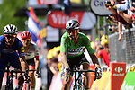 Green Jersey Peter Sagan (SVK) Bora-Hansgrohe and Philippe Gilbert (BEL) Quick-Step Floors cross the finish line at the end of Stage 9 of the 2018 Tour de France running 156.5km from Arras Citadelle to Roubaix, France. 15th July 2018. <br /> Picture: ASO/Pauline Ballet | Cyclefile<br /> All photos usage must carry mandatory copyright credit (&copy; Cyclefile | ASO/Pauline Ballet)