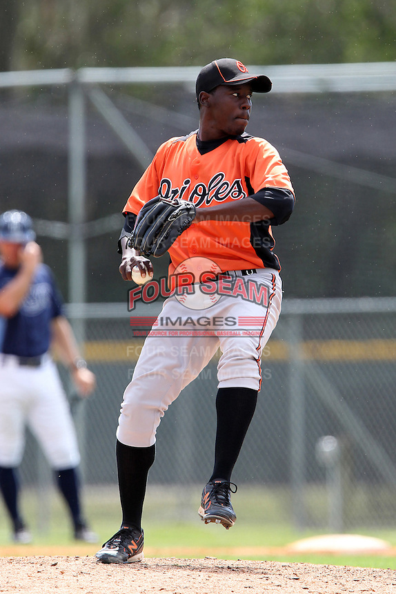 Baltimore Orioles Luis Lebron #83 during a spring training game against the Tampa Bay Rays at the Buck O'Neil Complex on March 21, 2012 in Sarasota, Florida.  (Mike Janes/Four Seam Images)