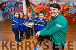 Ciara Griffin Ireland Women's Rugby captain pictured with Junior infants at CBS Primary, Maja Urbala, Amanda Briede, Ashlyn Neerakkal, Lucas Sugrue, Muhammed Hayan P.A., Adam Grondys.