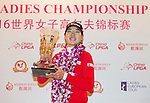 The winner Jung Min Lee of South Korea poses with her trophy during the Prize giving ceremony of the World Ladies Championship 2016 on 13 March 2016 at Mission Hills Olazabal Golf Course in Dongguan, China. Photo by Victor Fraile / Power Sport Images