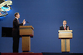 Presidential candidates Democratic Vice President Al Gore, left, and Republican Texas Governor George W. Bush argue a point during their first presidential debate October 3, 2000 at the University of Massachusetts in Boston, Massachusetts.<br /> Credit: Darren McCollester / Pool via CNP