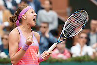 June 1, 2015: Lucie Safarova of Czech Republic celebrates after winning a 4th round match against Maria Sharapova of Russian Federation on day nine of the 2015 French Open tennis tournament at Roland Garros in Paris, France. Safarova won 76 64. Sydney Low/AsteriskImages