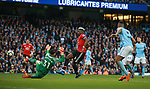 Paul Pogba of Manchester United scores his first goal during the premier league match at the Etihad Stadium, Manchester. Picture date 7th April 2018. Picture credit should read: Simon Bellis/Sportimage