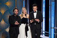 Presenters Johnny Galecki, Kaley Cuoco, and Jim Parsons onstage during the 76th Annual Golden Globe Awards at the Beverly Hilton in Beverly Hills, CA on Sunday, January 6, 2019.<br /> *Editorial Use Only*<br /> CAP/PLF/HFPA<br /> Image supplied by Capital Pictures