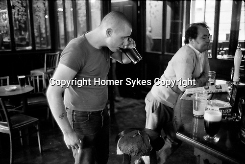 Skinhead Jimmy John  London Uk 1980 in his local in Tower hamlets east London.