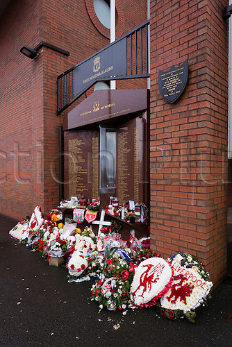 01.01.2014 Liverpool, England.  The Hillsborough memorial at Anfield, before the Premier League game between Liverpool and Hull City.