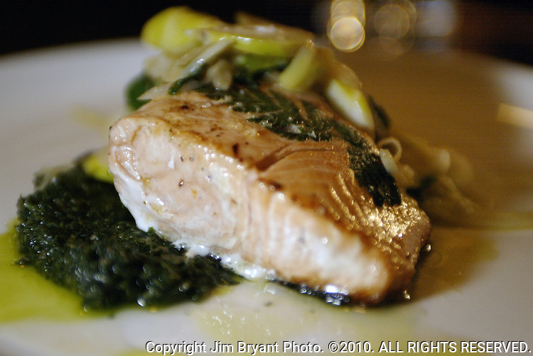 King Salmon with bamboo shoots and nettle salsa verde prepared by chef Matt Dillon at Sitka and Spruce restaurant on Eastlake Ave. E. in Seattle, WA.. Jim Bryant Photo. ©2010. All Rights Reserved.