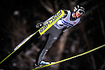 DIMITRY VASSILIEV of Russia soars through the air during the FIS World Cup Ski Jumping in Sapporo, northern Japan in February, 2008.