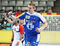 21.01.2013 Barcelona, Spain. IHF men's world championship, Eighth Final. Picture show Matej Gaber  in action during game slovenia vs Egypt at Palau St Jordi