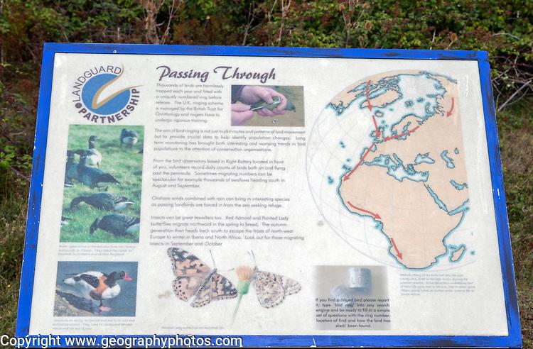Information board about bird and butterfly migration, Landguard Point, Felixstowe, Suffolk, England, UK