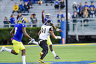 Newark, DE - OCT 29, 2016: Delaware Fightin Blue Hens quarterback Joe Walker (3) throws the balls over the head of Towson Tigers linebacker Jordan Mynatt (41) to Delaware Fightin Blue Hens wide receiver Jamie Jarmon (6) during game between Towson and Delaware at Delaware Stadium Tubby Raymond Field in Newark, DE. (Photo by Phil Peters/Media Images International)