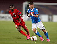 Napoli's Dries Mertens  during the Europa  League Group D soccer match against Brugge  at the San Paolo  Stadium in Naples September 17, 2015