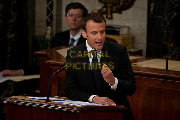 French President Emmanuel Macron delivers a joint address to the United States congress at the United States Capitol in Washington, DC on April 25, 2018. <br /> CAP/MPI/CNP/RS<br /> &copy;RS/CNP/MPI/Capital Pictures
