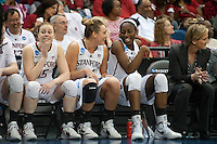 NORFOLK, VA--Teammates Joslyn Tinkle and Chiney Ogwumike share a light moment against Hampton University at the Ted Constant Convocation Center at Old Dominion University in Norfolk, VA in the first round of the 2012 NCAA Championships. The Cardinal advanced with a 73-51 win to play West Virginia on Monday, March 19.