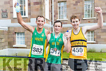 Pictured are the first three men home in the Rose of Tralee 10k on Sunday morning were l-r: Tommy O'Brien (second), Sean O'Sullivan (first) and Stephen Young Causeway (third)