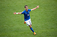 Alessio Riccardi (Roma) of Italy U17 celebrates scoring a goal to get his team the lead and make it 2-1 during the UEFA Under-17 Championship FINAL match between Italy and Netherlands at the New York Stadium, Rotherham, England on 20 May 2018. Photo by Andy Rowland.