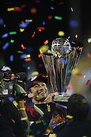 Ichiro Suzuki of Japan celebrates win against Korea at the World Baseball Classic at Dodger Stadium on March 23, 2009 in Los Angeles, California. (Larry Goren/Four Seam Images)