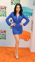 LOS ANGELES, CA - MARCH 31: Elizabeth Gillies arrives at the 2012 Nickelodeon Kids' Choice Awards at Galen Center on March 31, 2012 in Los Angeles, California.