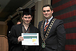 Mayor Kevin Callan presents Gerard Cluskey with his ESLO Certificate in the Westcourt Hotel...(Photo credit should read Jenny Matthews www.newsfile.ie)....This Picture has been sent you under the conditions enclosed by:.Newsfile Ltd..The Studio,.Millmount Abbey,.Drogheda,.Co Meath..Ireland..Tel: +353(0)41-9871240.Fax: +353(0)41-9871260.GSM: +353(0)86-2500958.email: pictures@newsfile.ie.www.newsfile.ie.
