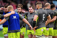 Leicester Tigers players huddle together during the pre-match warm-up. Anglo-Welsh Cup Final, between Exeter Chiefs and Leicester Tigers on March 19, 2017 at the Twickenham Stoop in London, England. Photo by: Patrick Khachfe / JMP
