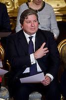 Giampiero D'Alia, ministro della Pubblica Amministrazione durante la cerimonia del giuramento del nuovo Governo Letta nel Salone delle Feste del Quirinale.