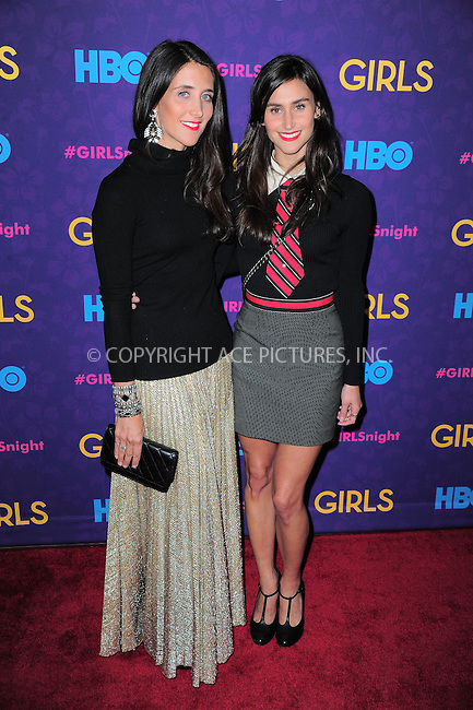 WWW.ACEPIXS.COM<br /> <br /> <br /> January 6, 2014, New York City, NY.<br /> <br /> <br /> Jodi Lynn and Danielle Snyder arriving at the 'Girls' Season 3 Premiere at Jazz at Lincoln Center on January 6, 2014 in NEw York City, NY.<br /> <br /> <br /> <br /> <br /> By Line:  William Bernard/ACE Pictures<br /> <br /> ACE Pictures, Inc<br /> Tel: 646 769 0430<br /> Email: info@acepixs.com