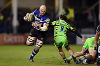 Matt Garvey of Bath Rugby in possession. Aviva Premiership match, between Bath Rugby and Northampton Saints on February 9, 2018 at the Recreation Ground in Bath, England. Photo by: Patrick Khachfe / Onside Images