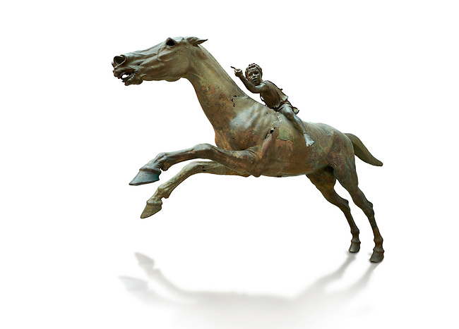 'Jockey of Artrmision' a Hellenistic bronze statue of a boy riding a horse. National Archaeological Museum Athens. Circa 140 BC. Cat No X 15177. Against white, <br /> <br /> Retrieved in pieces from a shipwreck of Cape Artemision in Euboea. The young jockey holds a rein in his left hand and a whip in his right. His face has a passionate expression with furrowas on his face. The pieces of the Bronze sculpture were reassembled in 1971.