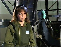 BNPS.co.uk (01202 558833)<br /> Pic: SueAdcock/FAST/BNPS<br /> <br /> FAST guide Sue Adcock in 1990, before one of over 600 spins she undertook in the centrifuge.<br /> <br /> Sci-fi 'Centrifuge' to open its doors to the public after 64 years...<br /> <br /> A remarkable Cold War relic which has put thousands of pilots through their G-force paces has made its final spin after six decades. <br /> <br /> The Top Secret building at the former RAE Farnborough test site is now open to the public for guided tours led by the scientists from FAST who used to work there.<br /> <br /> The Farnborough Centrifuge was used to simulate huge 9G forces - nine times more than a human body is designed to absorb - they would encounter while flying fast jets during combat operations.<br /> <br /> The pilot would sit in a small compartment replicating a cockpit at the end of the 60ft rotating arm and be propelled at over 60mph, spinning 30 times a minute.<br /> <br /> A staggering 122,133 tests were performed on it before it was decommissioned in March this year, with a new centrifuge installed at RAF Cranwell.<br /> <br /> It featured on an episode of Top Gear in 2000 when Jeremy Clarkson had a go on it at 3G, leaving him in obvious discomfort. He described the force exerted on him as like 'having an elephant sat on my chest'.<br /> <br /> The centrifuge, which is being displayed for the public for the first time, also appeared in the 1985 comedy film Spies Like Us starring Chevy Chase and Dan Ackroyd.