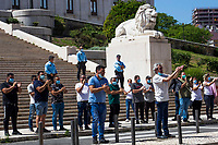 LISBON, PORTUGAL - MAY 21: Itinerant  artists stand up in the street in front of the Portuguese Parlament in a protest with social distancing rules in Lisbon, on May 21, 2020. <br /> Professionals in the sector will express their indignation at the conditions in which they currently live, demand urgent and immediate support and legislation that will define once and for all the status of the intermittent artist. (Photo by Luis Boza/VIEWpress)
