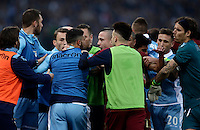 Calcio, Serie A: Lazio vs Roma. Roma, stadio Olimpico, 4 dicembre 2016.<br /> Lazio and Roma players argue during the Italian Serie A football match between Lazio and Rome at Rome's Olympic stadium, 4 December 2016. Roma won 2-0.<br /> UPDATE IMAGES PRESS/Isabella Bonotto