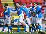 St Johnstone v Hamilton Accies…28.01.17     SPFL    McDiarmid Park<br />Graham Cummins celebrates his first goal with Brian Easton and Blair Alston<br />Picture by Graeme Hart.<br />Copyright Perthshire Picture Agency<br />Tel: 01738 623350  Mobile: 07990 594431