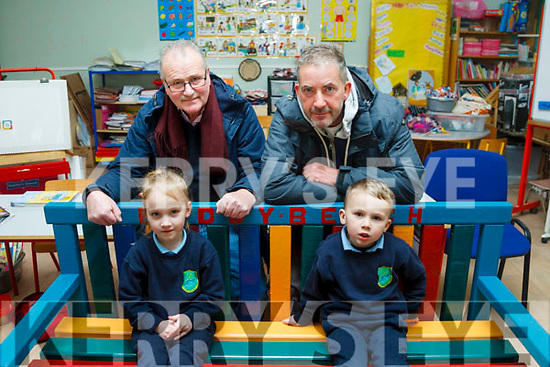 KC Men's Shed presented a Buddy Bench to St Joseph's National School in Castlemaine last week <br /> Left to right David Foley and Martin Greenwood who mad the bench with Eve and Ryan Giles.