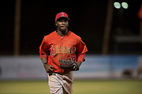 AZL Angels right fielder D'Shawn Knowles (20) jogs off the field between innings of an Arizona League game against the AZL Indians 2 at Tempe Diablo Stadium on June 30, 2018 in Tempe, Arizona. The AZL Indians 2 defeated the AZL Angels by a score of 13-8. (Zachary Lucy/Four Seam Images)