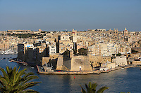 Aerial view of the Three Cities, Valletta, Malta, pictured on June 6, 2008, in the afternoon.  The Republic of Malta consists of seven islands in the Mediterranean Sea of which Malta, Gozo and Comino have been inhabited since c.5,200 BC. It has been ruled by Phoenicians (Malat is Punic for safe haven), Greeks, Romans, Fatimids, Sicilians, Knights of St John, French and the British, from whom it became independent in 1964. Nine of Malta's important historical monuments are UNESCO World Heritage Sites, including  the capital city, Valletta, also known as the Fortress City. Built in the late 16th century and mainly Baroque in style it is named after its founder Jean Parisot de Valette (c.1494-1568), Grand Master of the Order of St John. Picture by Manuel Cohen.