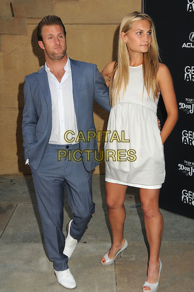 "SCOTT CAAN & GUEST.""Mercy"" Los Angeles Premiere held at Grauman's Egyptian Theatre, Hollywood, California, USA, .3rd May 2010..full length blue grey gray suit white shirt dress shoes hand in pocket .CAP/ADM/BP.©Byron Purvis/AdMedia/Capital Pictures."