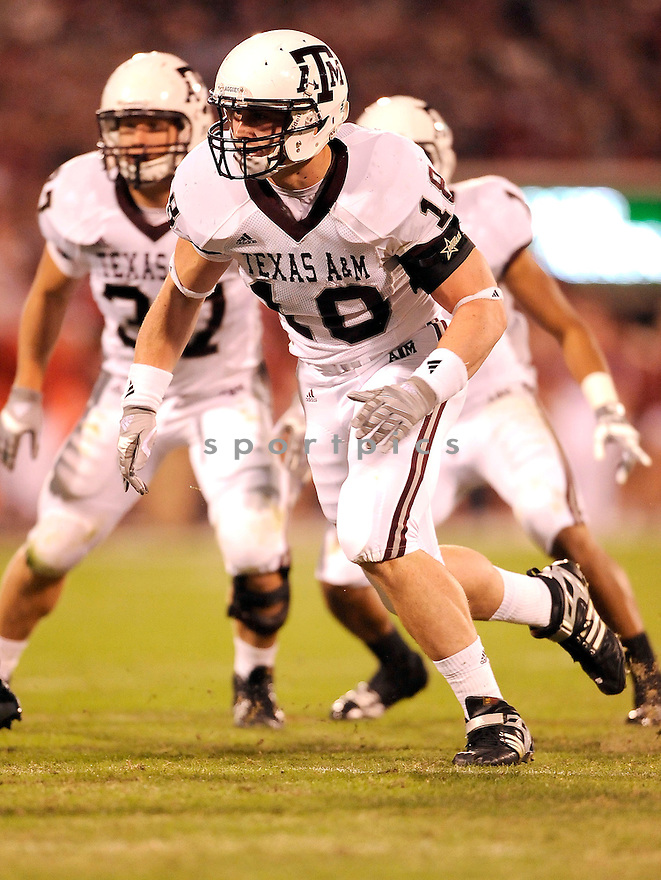 Texas A&M Aggies Kye Mangan (18) in action during a game against Oklahoma on November 14, 2009 at Gaylord Family Oklahoma Memorial Stadium in Norman, OK. Oklahoma beat Texas A&M 65-10.