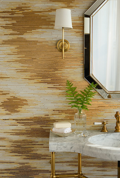 Reve, a handmade mosaic shown in 24K Gold Glass and Agate and Quartz Jewel Glass, is part of the Aurora&trade; Collection by Sara Baldwin for New Ravenna.<br />