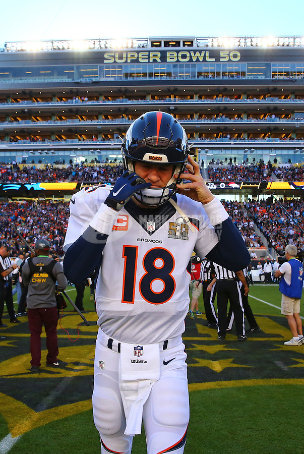 Feb 7, 2016; Santa Clara, CA, USA; Denver Broncos quarterback Peyton Manning (18) puts on his helmet prior to the game against the Carolina Panthers in Super Bowl 50 at Levi's Stadium. Mandatory Credit: Mark J. Rebilas-USA TODAY Sports