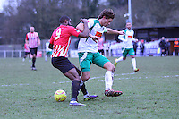 Kieran Bishop of Hornchurch under pressure - AFC Hornchurch vs Bognor Regis Town - Ryman League Premier Division Football at The Stadium, Bridge Avenue, Upminster - 07/02/15 - MANDATORY CREDIT: Mark Hodsman/TGSPHOTO - Self billing applies where appropriate - contact@tgsphoto.co.uk - NO UNPAID USE