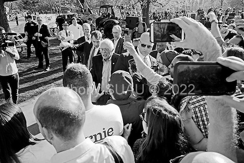 Brooklyn, New York<br /> Park Slope, Prospect Park<br /> April 17, 2016<br /> <br /> Democratic presidential candidate Bernie Sanders speaks in Prospect Park.