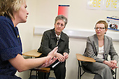 Cynthia Bower, Chief Executive of the Care Quality Commission, speaks to staff at the Royal Free Hospital, Hampstead.