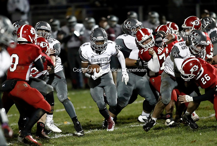 Derby, CT- 07 November 2014-110714CM10-  Naugatuck's Antoine Sistrunk finds an open holse during their NVL matchup in Derby on Friday night.  Christopher Massa Republican-American