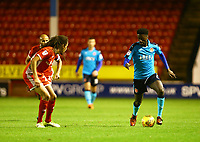 Jordy Hiwula of Fleetwood Town wins the ball during the Sky Bet League 1 match between Walsall and Fleetwood Town at the Banks's Stadium, Walsall, England on 21 November 2017. Photo by Leila Coker.