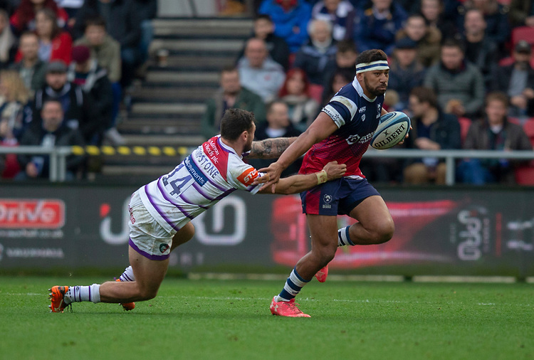 Bristol Bears' Charles Piutau evades the tackle of Leicester Tigers' Adam Thompstone<br /> <br /> Photographer Bob Bradford/CameraSport<br /> <br /> Gallagher Premiership - Bristol Bears v Leicester Tigers - Saturday 1st December 2018 - Ashton Gate - Bristol<br /> <br /> World Copyright © 2018 CameraSport. All rights reserved. 43 Linden Ave. Countesthorpe. Leicester. England. LE8 5PG - Tel: +44 (0) 116 277 4147 - admin@camerasport.com - www.camerasport.com