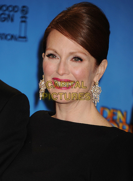 Julianne Moore.Press Room at the 70th Annual Golden Globe Awards held at the Beverly Hilton Hotel, Beverly Hills, California, USA..January 13th, 2013.globes headshot portrait black diamond earrings pink lipstick hair up.CAP/GAG.©GAG/Capital Pictures