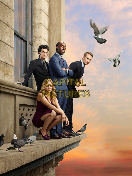 House of Lies (2012)<br /> (Season 2)<br /> Ben Schwartz as Clyde Oberholt, Kristen Bell as Jeannie Van Der Hooven, Don Cheadle as Marty Kaan and Josh Lawson as Doug<br /> *Filmstill - Editorial Use Only*<br /> CAP/FB<br /> Image supplied by Capital Pictures